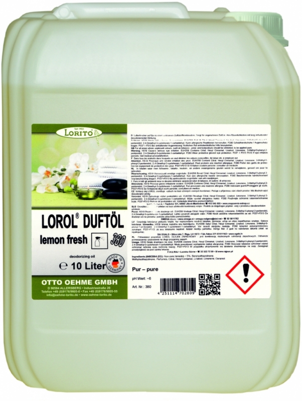 Osviežovač vzduchu Oehme Lorol Lemon 380 10 l