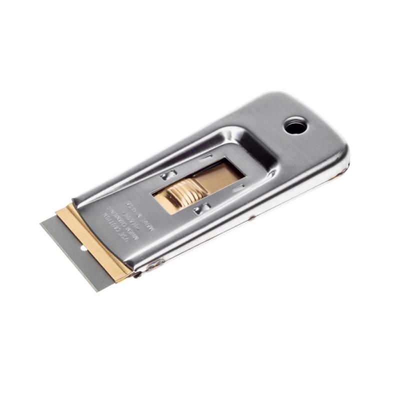 Škrabka kovová s žiletkou na odstraňovanie etikiet Koch 999091